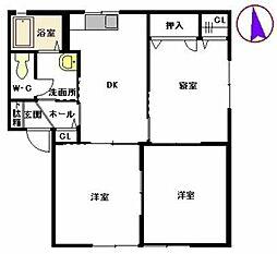ハイアットセト E棟 1階3DKの間取り