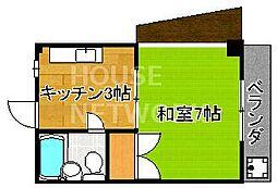 京都府京都市北区紫野西野町の賃貸マンションの間取り