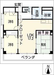 シェトワ六条[2階]の間取り