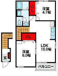 ベルサンライズ B棟[2階]の間取り