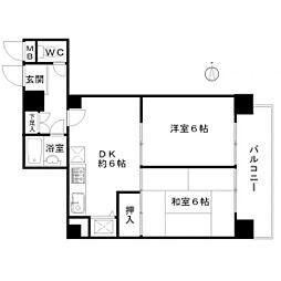 福岡県福岡市中央区黒門の賃貸マンションの間取り