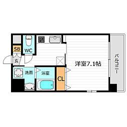 Osaka Metro長堀鶴見緑地線 蒲生四丁目駅 徒歩3分の賃貸マンション 7階1Kの間取り