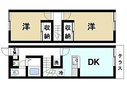 [テラスハウス] 奈良県奈良市中山町 の賃貸【奈良県 / 奈良市】の間取り