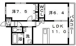 クレール北畠[4階]の間取り