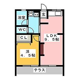 シティハイムサン安井[1階]の間取り