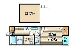 フラッツ堺東[1階]の間取り