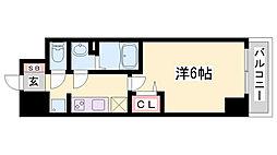 プレサンス兵庫駅前 6階1Kの間取り