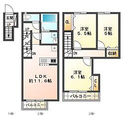 [タウンハウス] 千葉県八千代市八千代台南1丁目 の賃貸【/】の間取り