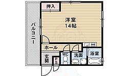 西板持3 3階ワンルームの間取り