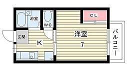 大阪府豊中市本町9丁目の賃貸アパートの間取り