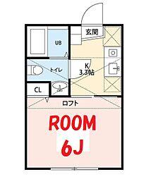 JR京浜東北・根岸線 山手駅 徒歩11分の賃貸アパート 2階1Kの間取り