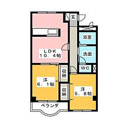パルスクエアB[2階]の間取り