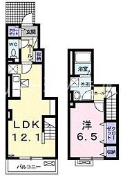 兵庫県三木市府内町の賃貸アパートの間取り