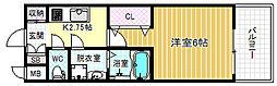 Osaka Metro千日前線 野田阪神駅 徒歩7分の賃貸マンション 2階1Kの間取り