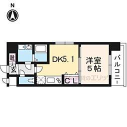 エステムコート京都西大路618 6階1DKの間取り