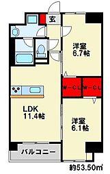 ネクステージ三萩野[105号室]の間取り