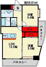 コンプレート富士見[6階]の間取り