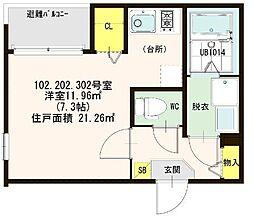 仮称)ハ−モニ−テラス大阪市西淀川区歌島一丁目8A[202号室]の間取り