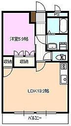 しなの鉄道 坂城駅 徒歩11分の賃貸マンション 2階1LDKの間取り