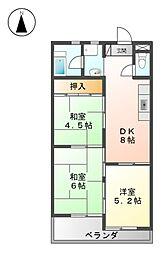 愛知県名古屋市西区玉池町の賃貸マンションの間取り