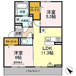 D-room可部3丁目A棟[302号室]の間取り