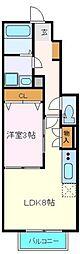 JR仙石線 苦竹駅 徒歩10分の賃貸アパート 1階1LDKの間取り