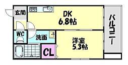 南海線 北助松駅 徒歩7分の賃貸アパート 3階1DKの間取り