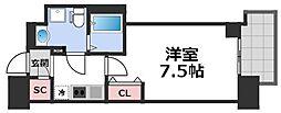 セレニテ谷九プリエ 14階1Kの間取り
