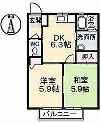 山口県下関市小月高雄町の賃貸アパートの間取り