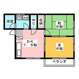 コーポオナヅカ D[2階]の間取り