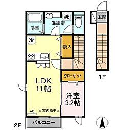 JR中央本線 吉祥寺駅 バス24分 中原三丁目下車 徒歩3分の賃貸アパート 2階1LDKの間取り