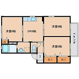 奈良県橿原市醍醐町の賃貸アパートの間取り