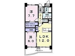 木村ロイヤルマンション4[3階]の間取り