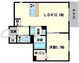 仮称 東淀川小松4丁目ヘーベルメゾン 1階1LDKの間取り