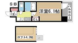 エステムコート三宮駅前ラ・ドゥー[704号室]の間取り