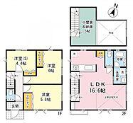 建物参考プランです。3LDKロフト付き。リビング吹き抜け天井です。屋上付き住宅等、理想の住まいを建築いただけます。
