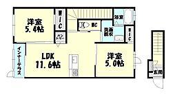 福岡県大野城市乙金3丁目の賃貸アパートの間取り