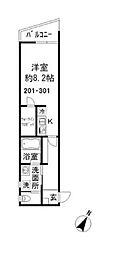 東武伊勢崎線 五反野駅 徒歩10分の賃貸アパート 2階ワンルームの間取り