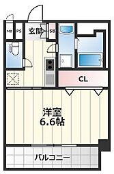 Luxe海老江2 2階1Kの間取り