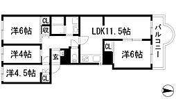 兵庫県伊丹市瑞ケ丘2丁目の賃貸マンションの間取り