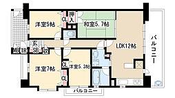 愛知県名古屋市緑区大高町字天神の賃貸マンションの間取り