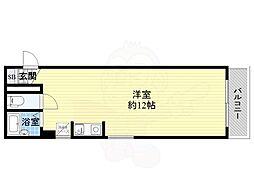 シャトー東梅田 5階ワンルームの間取り