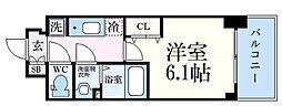 神戸高速東西線 新開地駅 徒歩6分の賃貸マンション 12階1Kの間取り