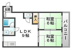 プティシャトー長田[3階]の間取り