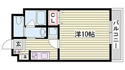 神戸市西神・山手線 伊川谷駅 徒歩6分の賃貸マンション 2階1Kの間取り