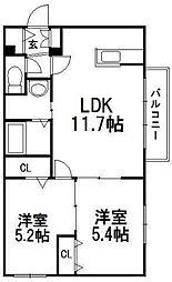 北海道札幌市豊平区平岸一条9の賃貸マンションの間取り