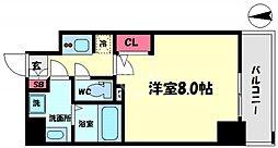 S-RESIDENCE西長堀 2階1Kの間取り