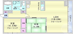 仙台市営南北線 勾当台公園駅 徒歩6分の賃貸マンション 5階2LDKの間取り