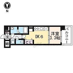 京都市営烏丸線 九条駅 徒歩6分の賃貸マンション 7階1DKの間取り