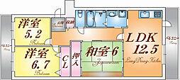 兵庫県神戸市北区山田町小部字南山の賃貸マンションの間取り